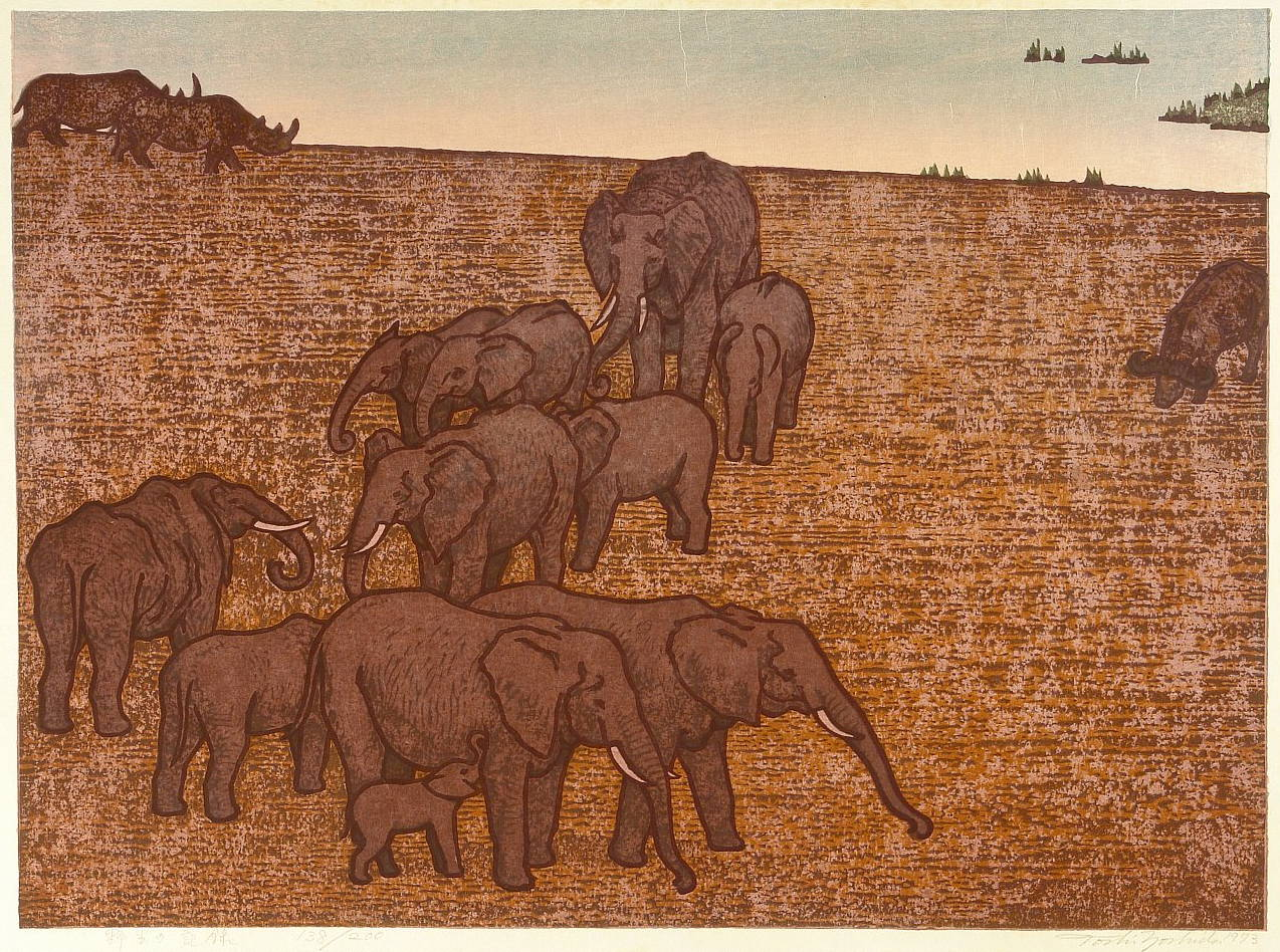 "Yoshida Tōshi ""Elephants in the Wild"" 1973 main image"